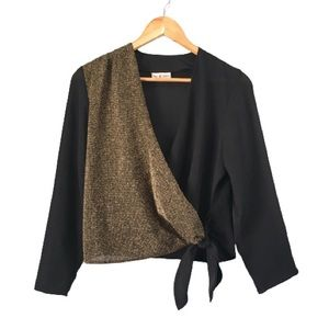 80's Vintage Wrap Top Black & Metallic Gold